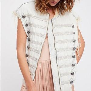 NWT Free People Striped Denim Vest size M / L